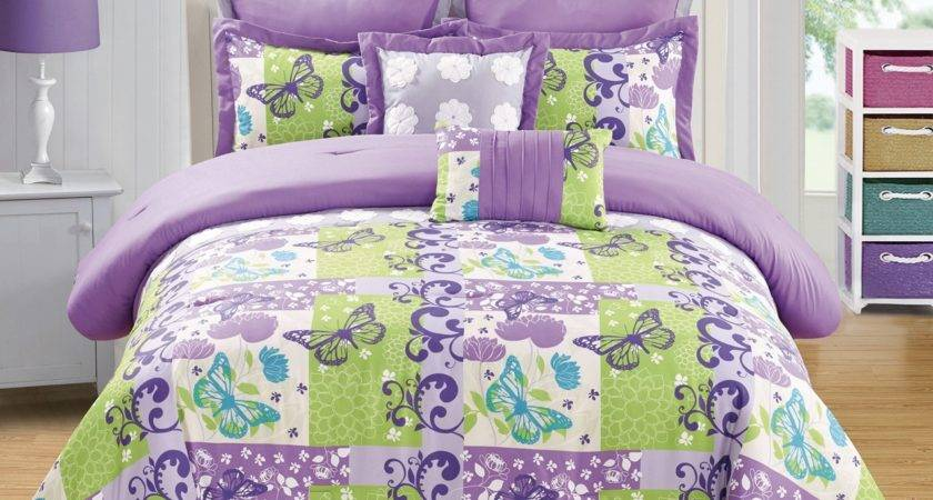 Purple Bed Sets Queen Piece Butterfly Green