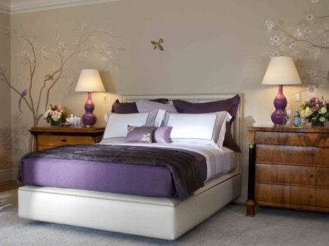 Purple Bedroom Decor Ideas Grey Wall White Accent