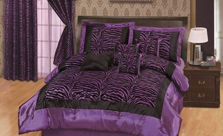 Purple Black Bedding New Queen White