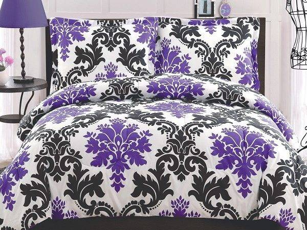 Purple Black Leaf Print Bedding Decoist