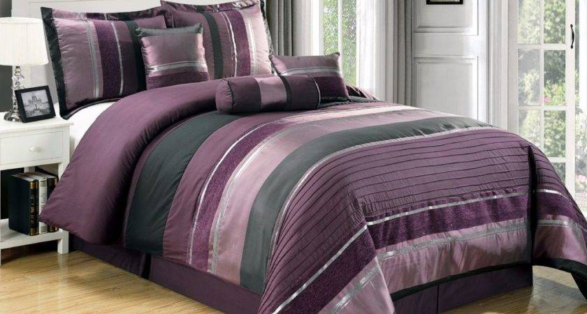 Purple Black Silver Stripe Chenille Comforter Set