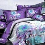 Purple Blue Floral Flower Bedding Comforter Set Queen