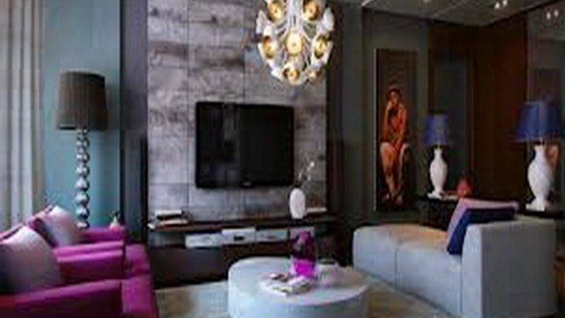 Purple Blue Living Room Modern House