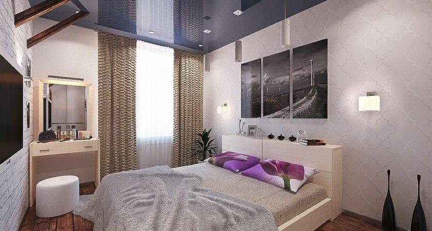 Purple Blue White Bedroom Interior Design Ideas