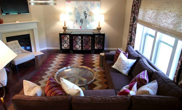Purple Brown Living Room Contemporary