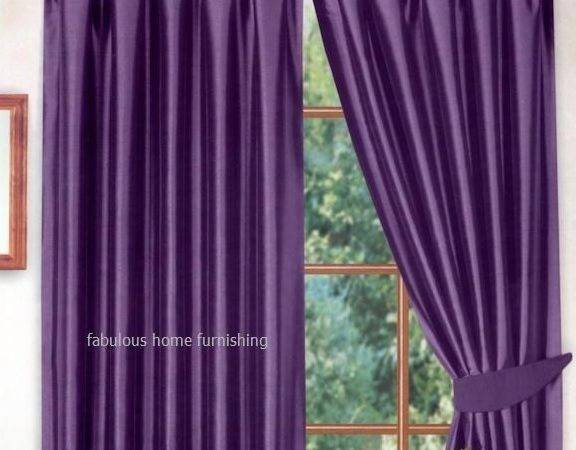 Purple Colour Stylish Faux Silk Fully Lined Pair Curtains