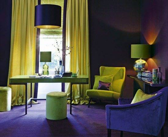 Purple Gold Home Office Designs