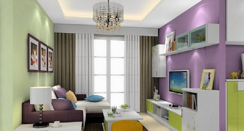 Purple Green Brown Living Room Modern House
