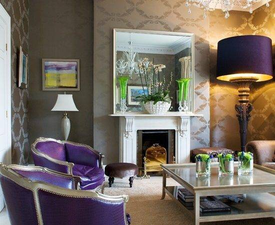 Purple Green Themed Living Room Beautiful Homes Design