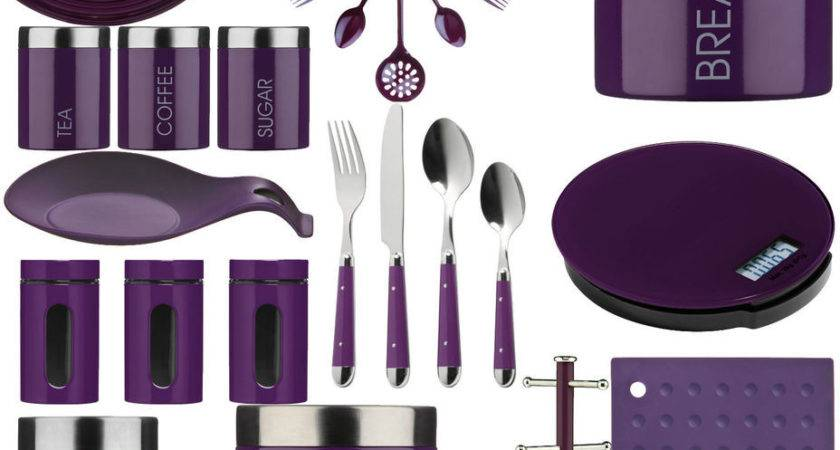Purple Kitchen Storage Tea Coffee Sugar Cutlery Set