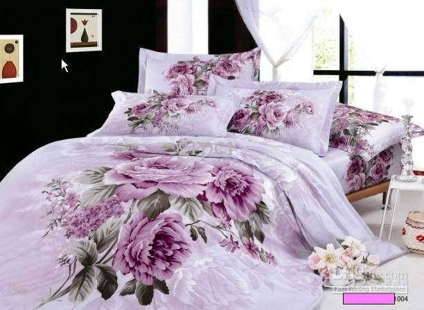 Purple Lilac Floral Bedding Comforter Set King Queen