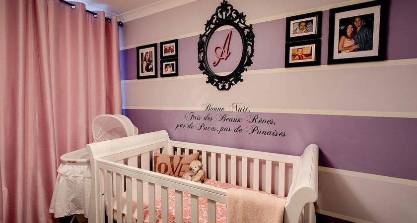 Purple Pink Baby Girl Nursery Striped Accent Wall