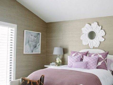 Purple Taupe Bedroom Grasscloth Contemporary