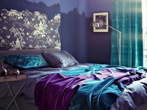 Purple Teal Gray Bedroom Modern