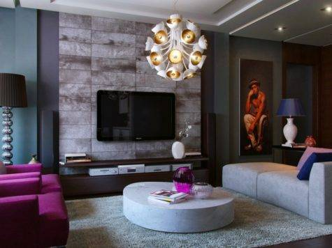 Purple Teal Slate Living Room Interior Design Ideas