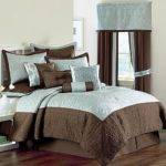 Queen Blue Brown Classic Comforter Set Pretty New Ebay