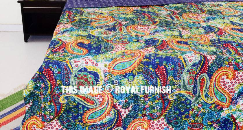 Queen Blue Multicolor Paisley Kantha Quilt Blanket