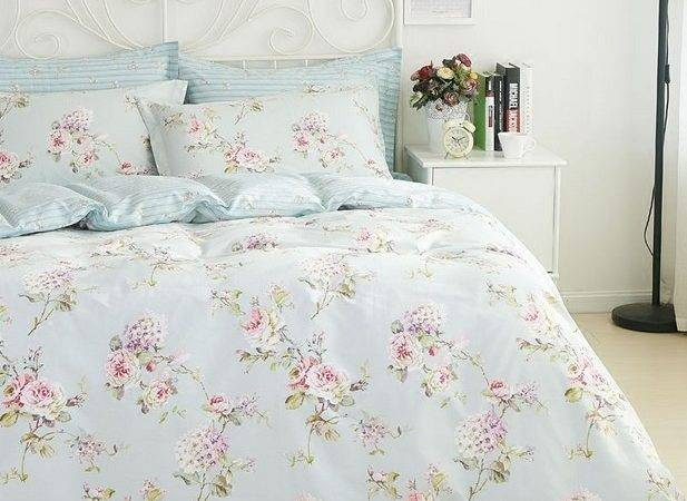 Queen French Country Cottage Shabby Chic Blue Duvet Quilt