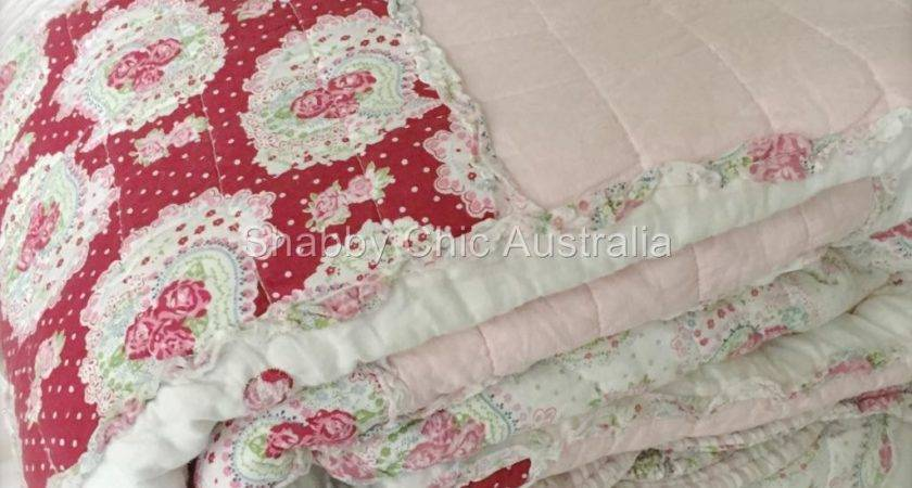 Queen Pottery Pink Antique Barn Chic Shabby Rag White