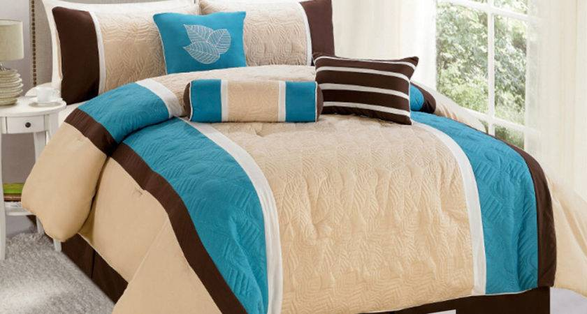 Quilted Botanical Garden Comforter Set Turquoise Blue