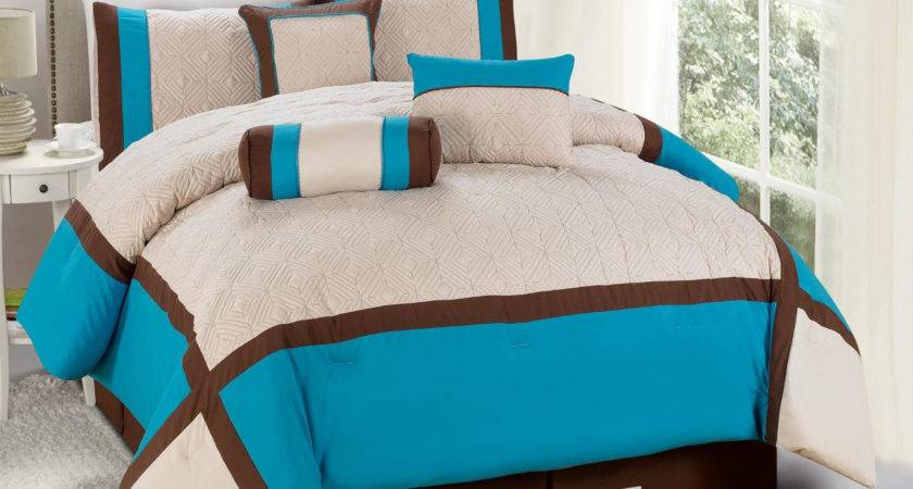 Quilted Diamond Square Patchwork Comforter Curtain Set