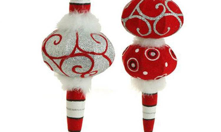 Raz Flocked Red Black White Finial Ornament Set