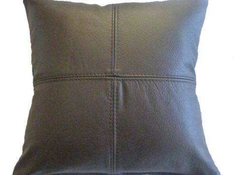 Real Leather Scatter Cushion Small Cream