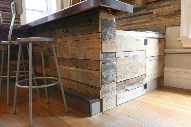 Reclaimed Wood Bar Rustic New York Jen Chu Design