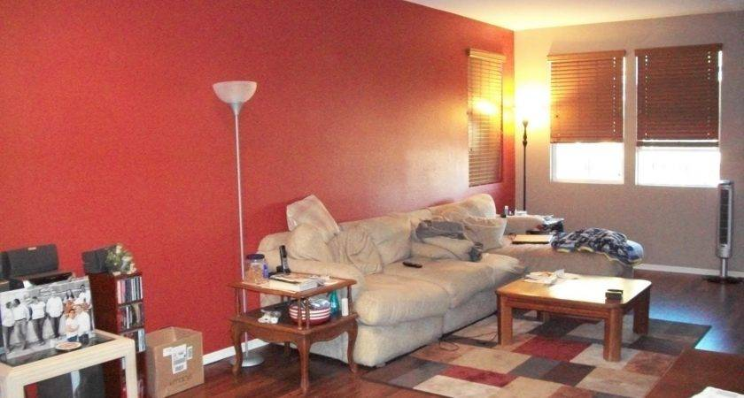 Red Accent Wall Living Room Simple Home Decoration