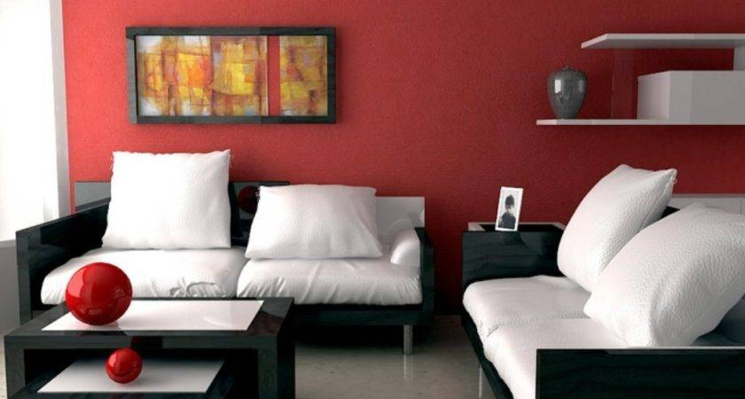 Red Accent Wall Paint Color White Cushions Black