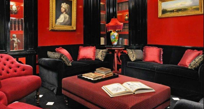 Red Black Furniture Living Room Ideas Home