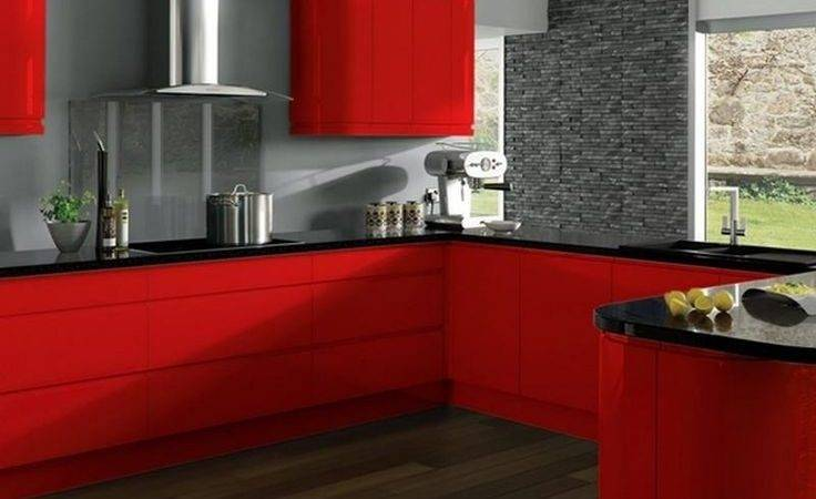 Red Black Kitchen Cabinets