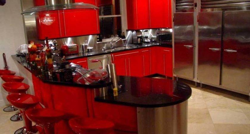 Red Black Kitchen Designs White