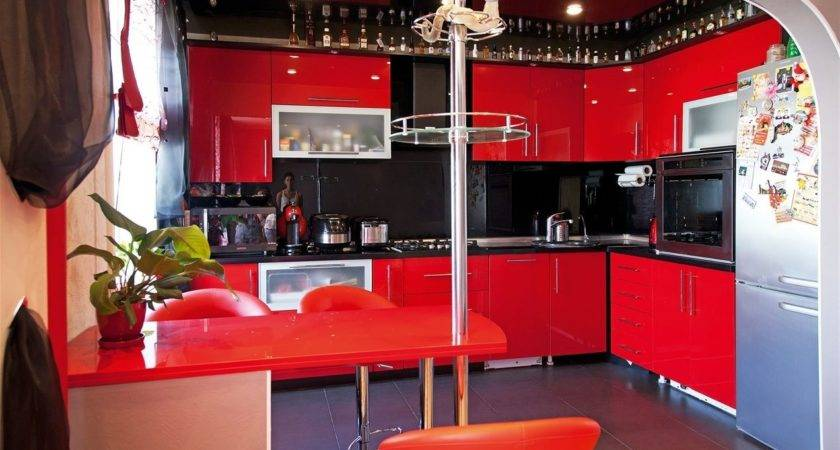 Red Black Kitchen Interior Design Ideas
