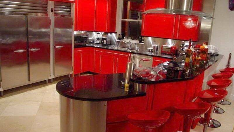 Red Black Kitchen Themes Home Design