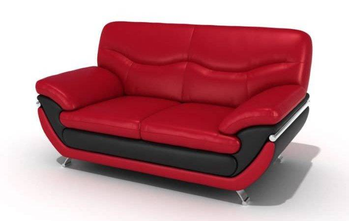 Red Black Leather Sofa Model Cgtrader