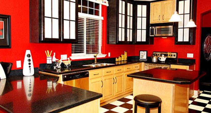 Red Black Tan Kitchen Themes White Decor Also