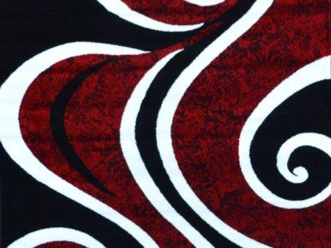 Red Black White Contemporary Abstract Area Rug Carpet