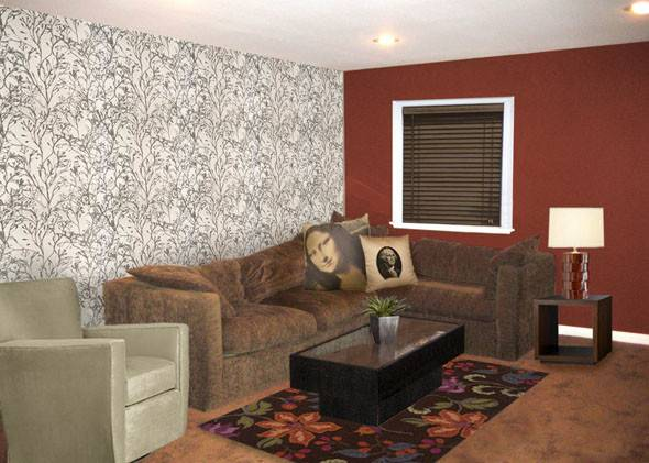 Red Brown Living Room