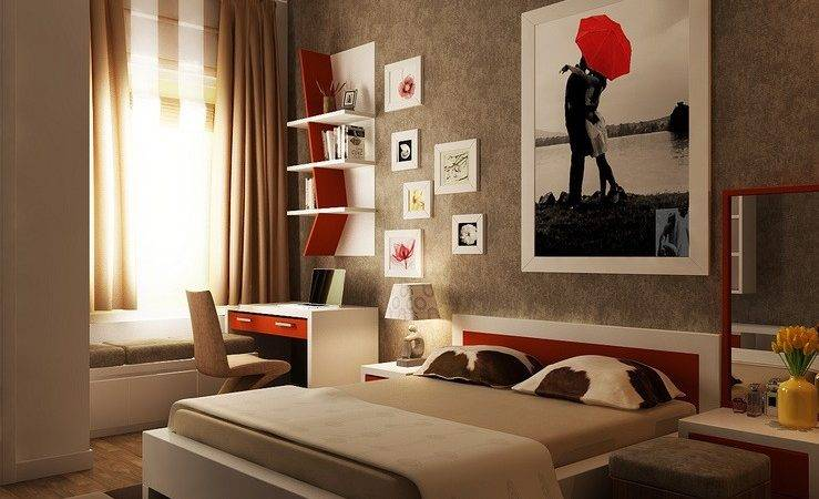 Red Brown White Bedroom Layout Interior Design Ideas