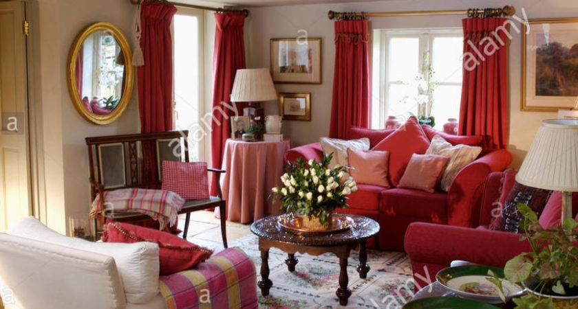 Red Checked Throw Cream Armchair Cosy Cottage Living
