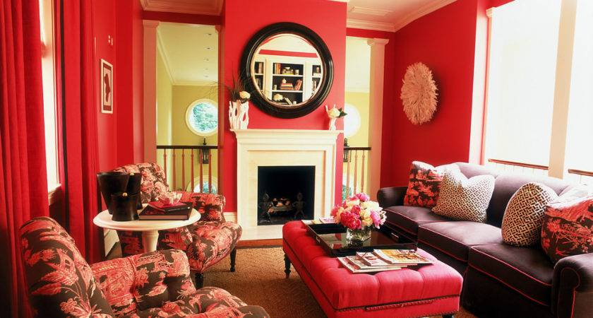 Red Colour Combination Walls Cozy Living Room