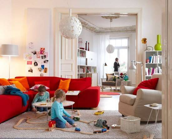 Red Couch Decorating Home Design Inside
