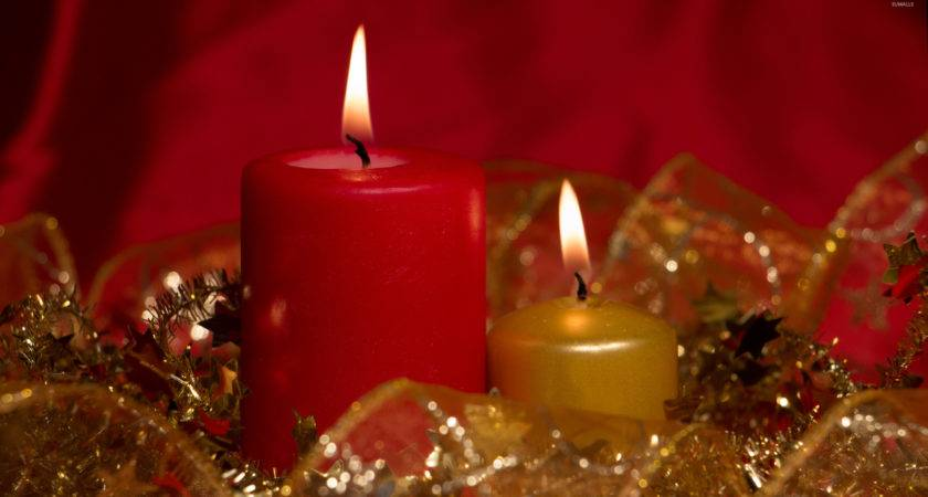 Red Golden Christmas Candles Holiday