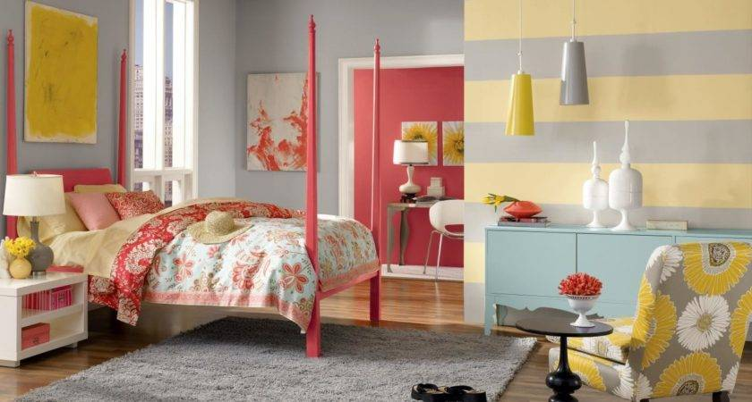 Red Grey Bedroom Pink Yellow