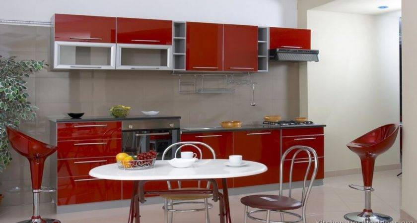 Red Kitchen Cabinets Gray
