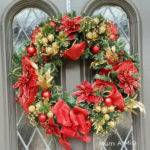 Red Lighted Christmas Wreath Gold Door Hanger Holiday