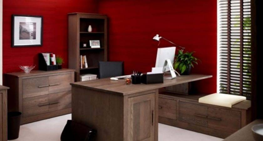 Red Luxury Wall Color Wood Table Office Furniture
