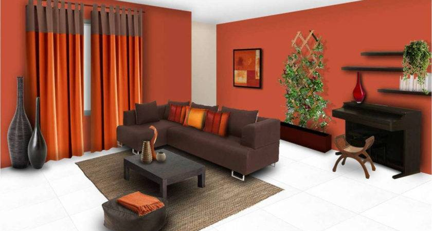 Red Orange Brown Paint Living Room Photos Home Combo