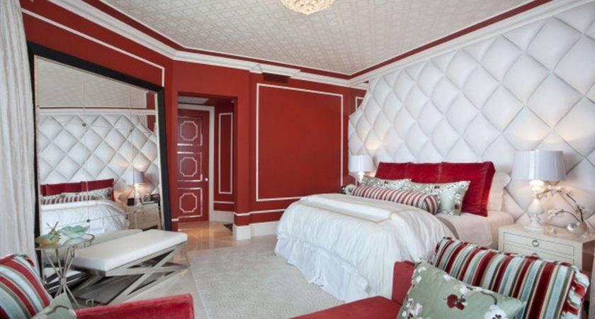 Red Painted Wall Mixed White Stained Wooden Frame
